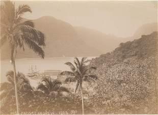 Pago Pago Samoa Warship at Naval Base c1904