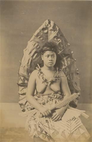 Samoan Woman holding a War Club, c1893