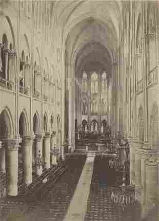 Interior of the Notre Dame Cathedral, Paris. c1880