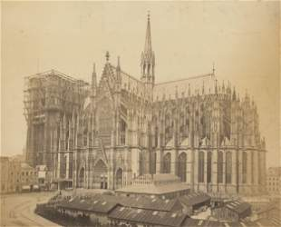 Cologne Cathedral during construction. Dec 1873