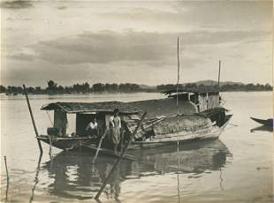 A Houseboat on the Meping River, Siam. c1920