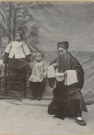 CHINA. Chinese Actor and Children, c1895