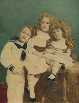 ENGLAND. Hand Painted photograph of Three Children.