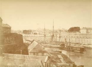FRANCE. Salt print of Ships in the Port of Brest,