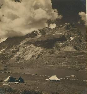 My camp on edge of Lake Gangabal, 12,000 ft. elevation,