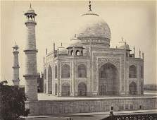 INDIA.  Agra; The Taj, from the corner of the
