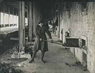 INDUSTRIAL. Woman Stoking Nitric Acid Stills WW1