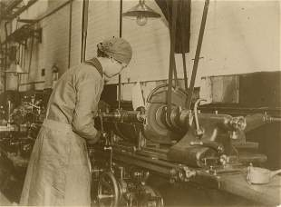 INDUSTRIAL. Woman working on a Capstone Lathe. C1931