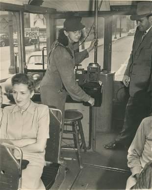 U.S.A. Conductor on Los Angeles Trolley Car. C1930