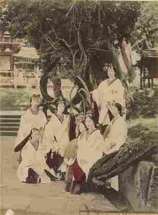 Miko, Performers in Temple Dancing, Nara, 1880