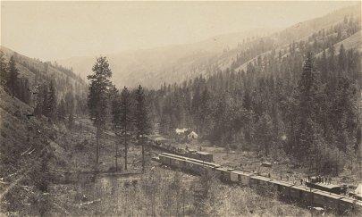 U.S.A. Trains in Meacham Creek Canyon, Oregon. c1880