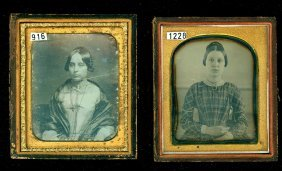 2 Sixth Plate Daguerreotypes Of Ladies