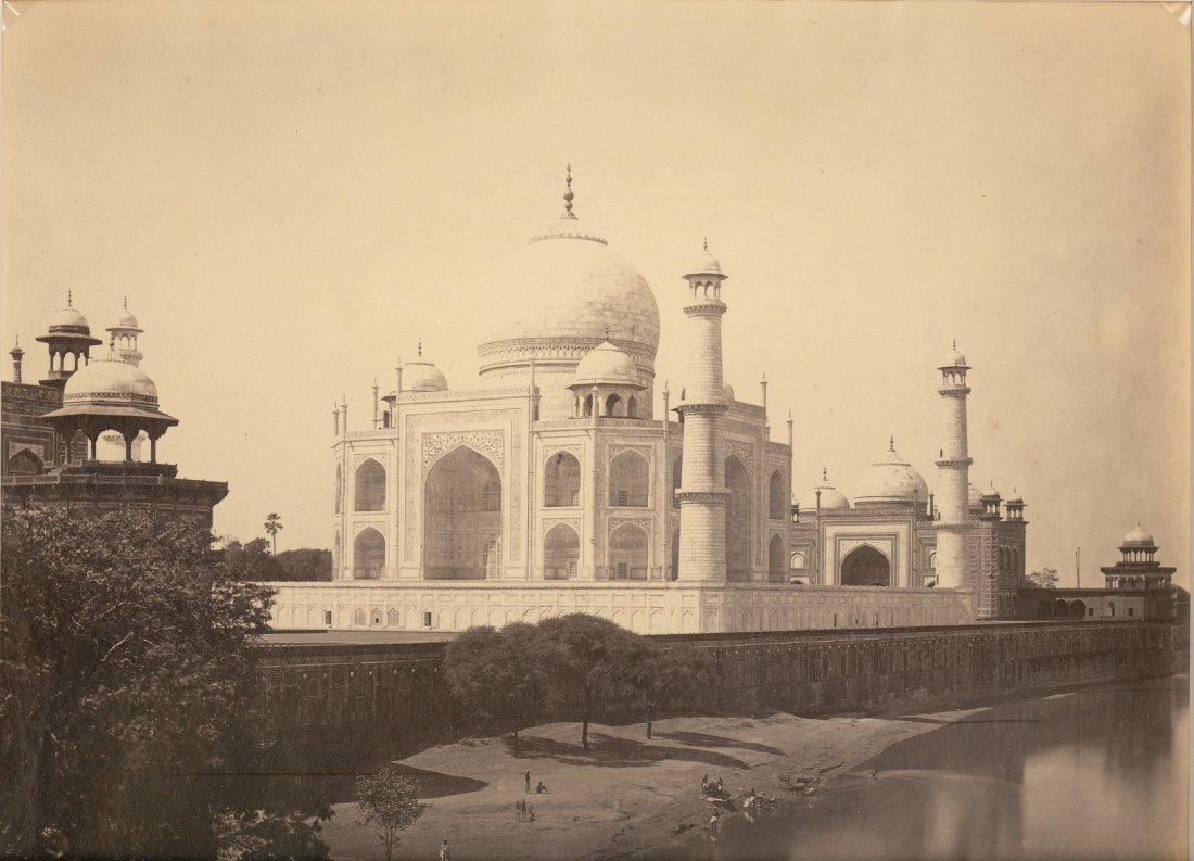 Agra - The Taj Mahal from the River. Circa 1865
