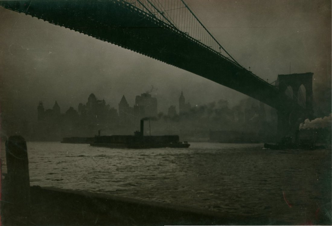 Moody Brooklyn Bridge image, New York City, c1930