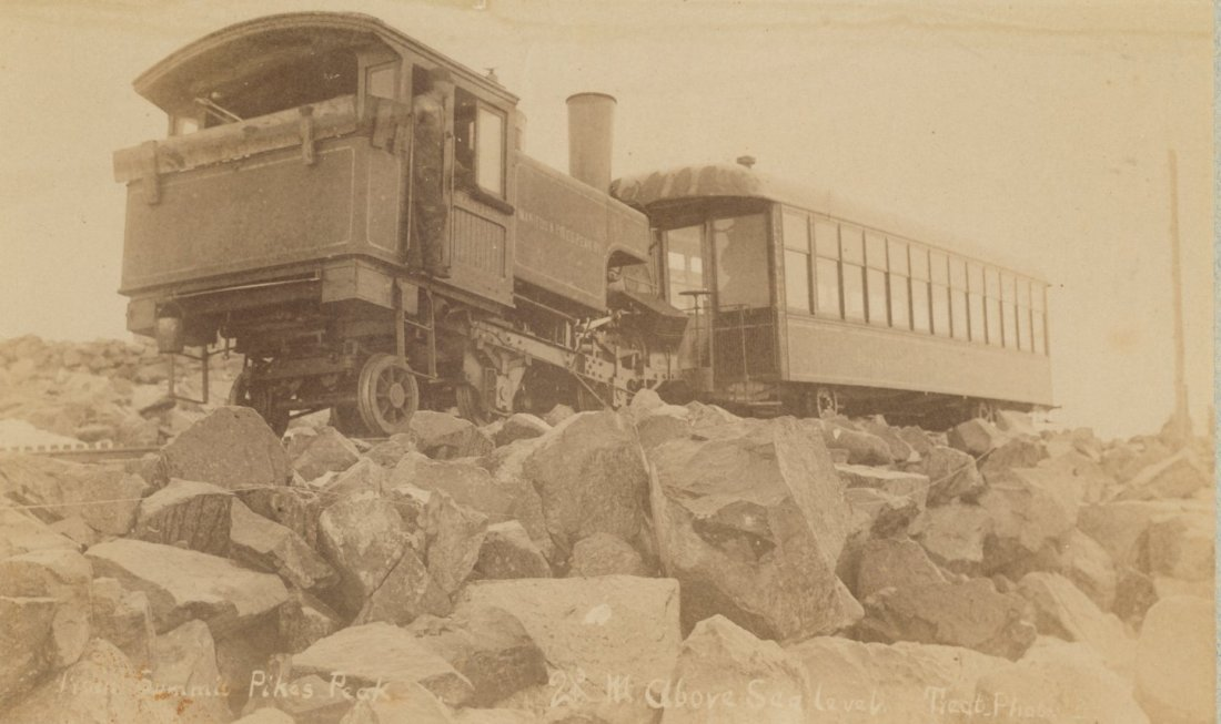Pike's Peak Tram at the Summit.  Circa 1890