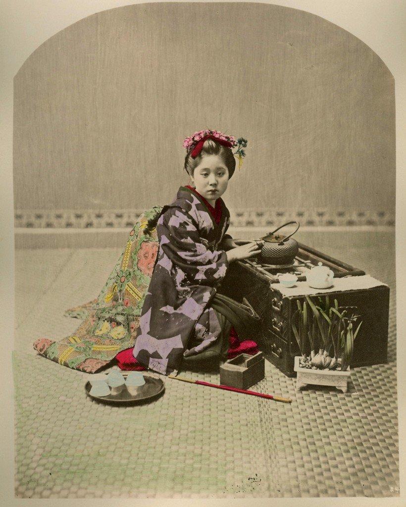Young Geisha with Elaborate Obi, Japan. c1885.