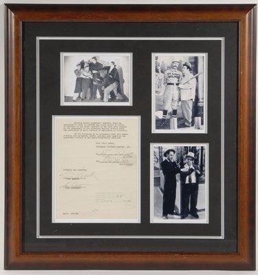 1: Abbott + Costello Signed Document Display PSA