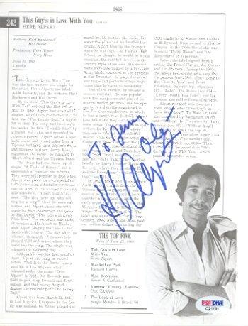 10: Herb Alpert Signed Biography Sheet PSA/DNA