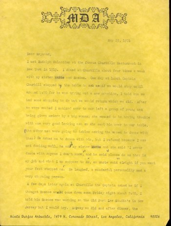 16: Fatty Arbuckle Minta Signed Letter CONTENT GAI