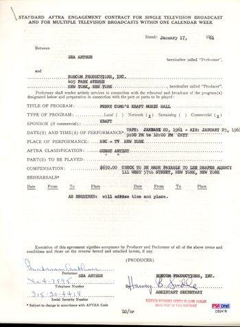 17: Bea Arthur Vintage Signed Document (1961) PSA