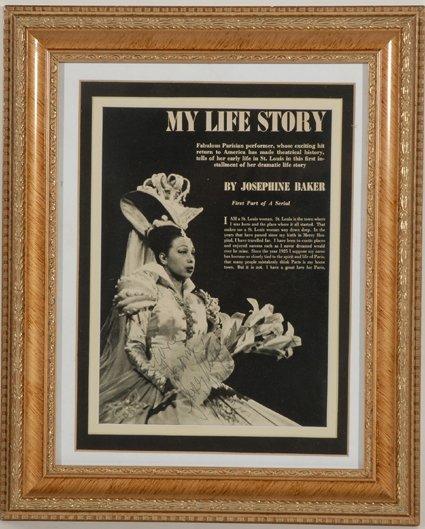 22: Josephine Baker Signed Framed Display GAI COA
