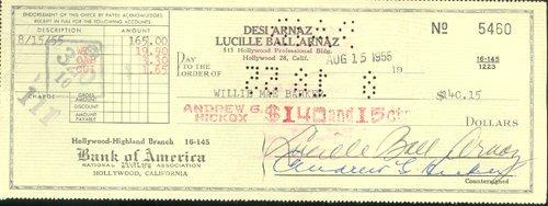 24: Lucille Ball Signed Bank Check GAI COA