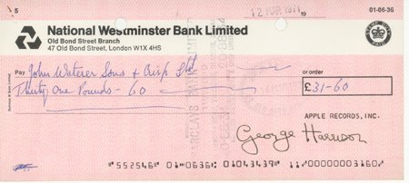 753: Beatles George Harrison Signed Bank Check GAI