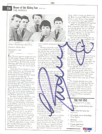 761: Eric Burdon ANIMALS Signed Biography Sheet PSA