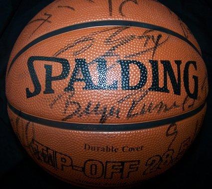 1123: 03-04 Lakers Signed Basketball Shaq Kobe GAI