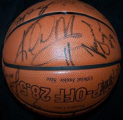 1123: 03-04 Lakers Signed Basketball Shaq Kobe GAI - 4