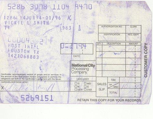 15: Anna Nicole Smith Personal Receipt (2/7/1994)