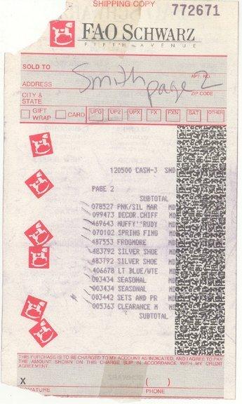 16: Anna Nicole Smith Shipping Receipt (c.1993)