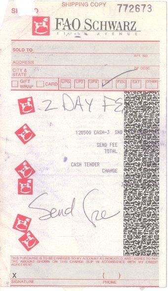 17: Anna Nicole Smith FAO Schwartz Receipt (c.1993)