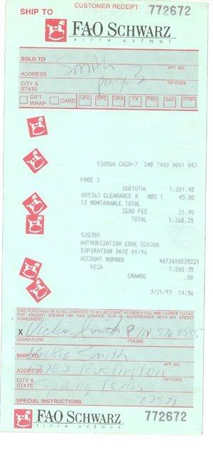 18: Anna Nicole Smith Personal Receipt (3/21/93)