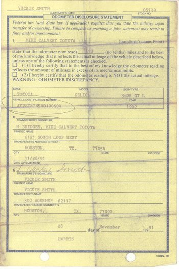 19: Anna Nicole Smith Personal 1991 Document GAI COA