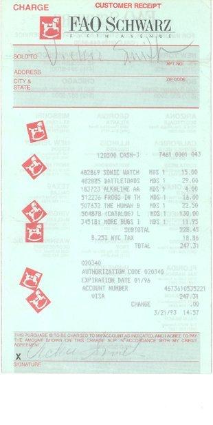 20: Anna Nicole Smith Personal Receipt #2 (3/21/93)