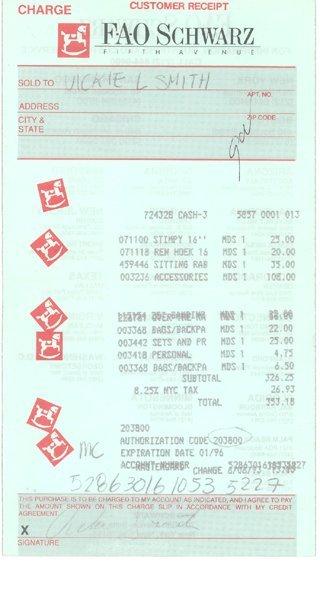 21: Anna Nicole Smith Personal Receipt (6/6/93) GAI