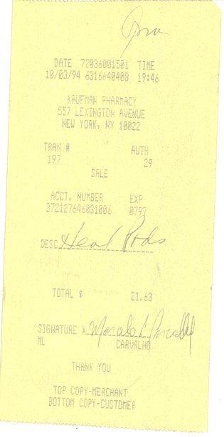 22: Anna Nicole Smith 1994 NYC Pharmacy Receipt GAI