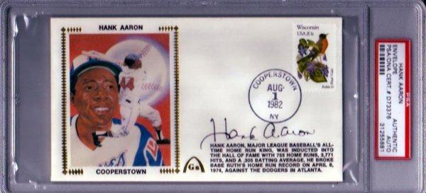 1421: Hank Aaron Signed Comm. Envelope PSA Slabbed