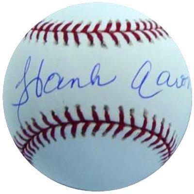 1422: Hank Aaron Signed OML Baseball Graded PSA 9 Mint