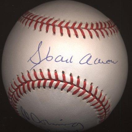 1423: Hank Aaron & Al Downing Dual Signed ONL Baseball