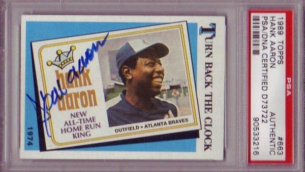 1424: Hank Aaron Signed 1989 Topps Card PSA Slabbed