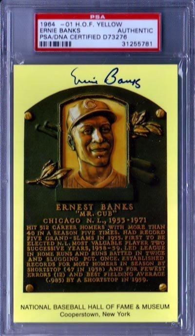 1437: Ernie Banks Signed Gold HOF Postcard PSA Slabbed