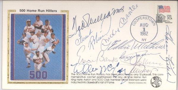 1443: 500 HR Hitters Signed Cachet Mantle Williams PSA