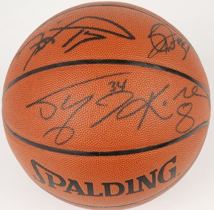 1598: 00-01 LA Lakers Signed Basketball Kobe, Shaq GAI