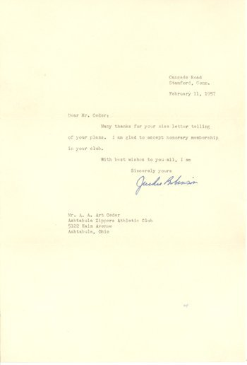 1713: Jackie Robinson Signed Letter (1957)