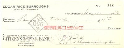1: Edgar Rice Burroughs (Tarzan) Signed Bank Check