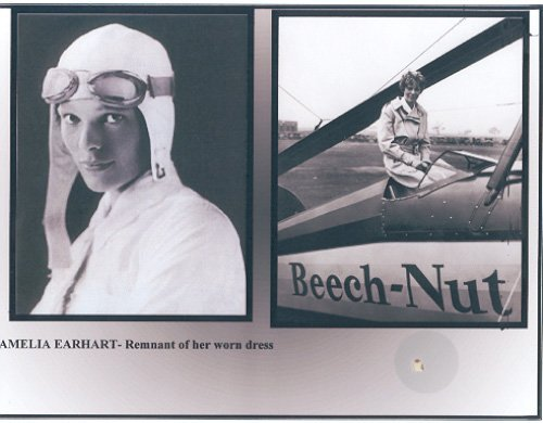 5: Amelia Earhart Mounted Clothing Relic Display