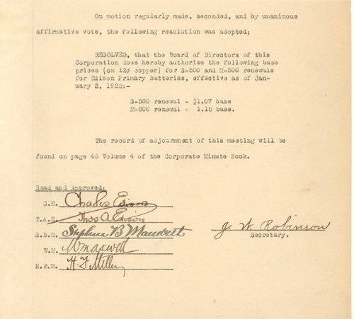 6: Thomas Edison Signed Vintage Document (1922)