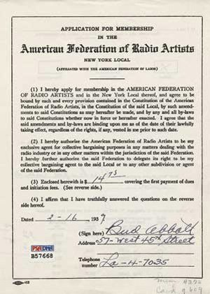 1: Abbott + Costello Earliest Known Signed Documents